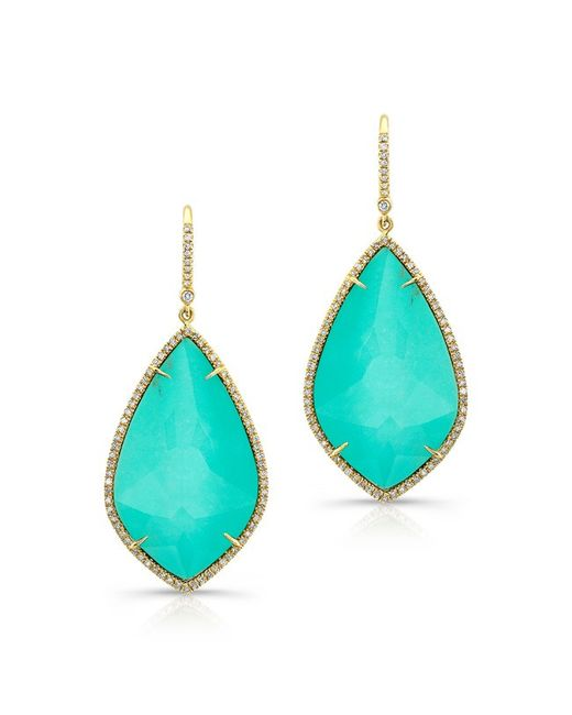 Anne Sisteron | Blue 14kt Yellow Gold Turquoise Diamond Rose Cut Earrings | Lyst