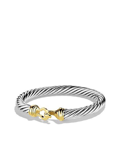 David Yurman   Metallic Cable Classic Buckle Bracelet With 14k Gold, 7mm   Lyst