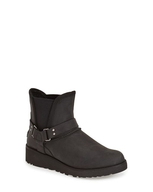 UGG | Black Glen Water-Resistant Leather Boots | Lyst