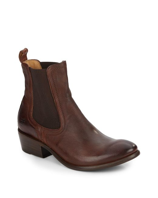 frye carson leather ankle boots in brown for lyst