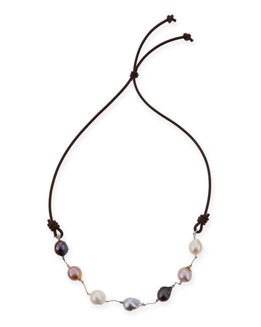 Margo Morrison | Black Multicolor Baroque Pearl & Leather Necklace | Lyst