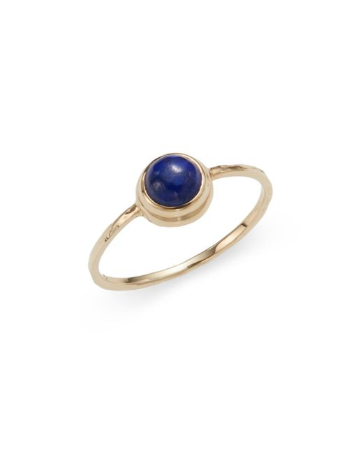 Anzie | Blue Classique Round Lapis & 14k Yellow Gold Ring | Lyst
