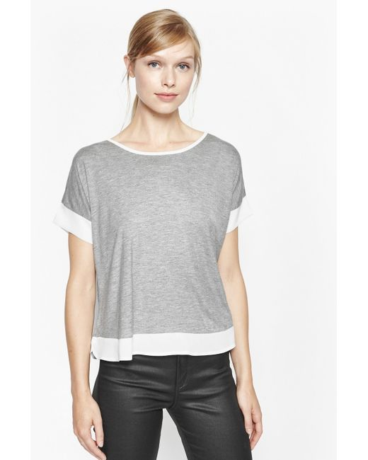 French Connection | Gray Penny Cap Sleeve Top | Lyst