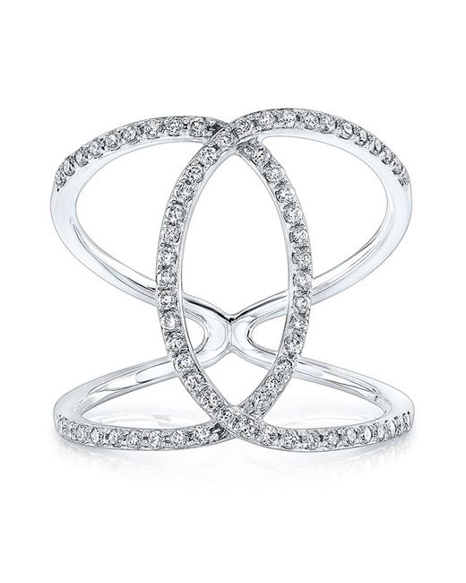 Anne Sisteron | 14kt White Gold Diamond Cigar Band Ring | Lyst