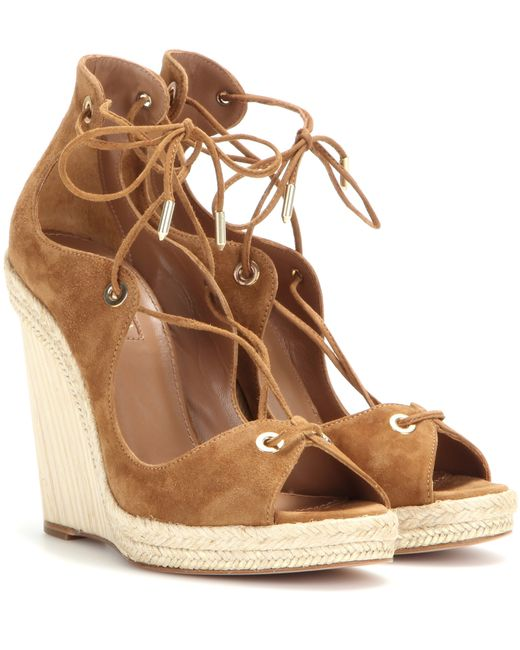 Aquazzura | Brown Tulum 115 Embellished Suede Wedge Espadrilles | Lyst