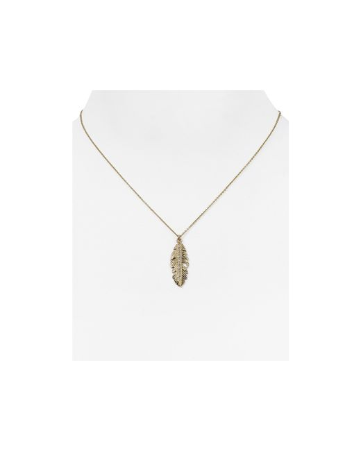 "Melinda Maria | Metallic Nina Feather Pendant Necklace, 16"" | Lyst"