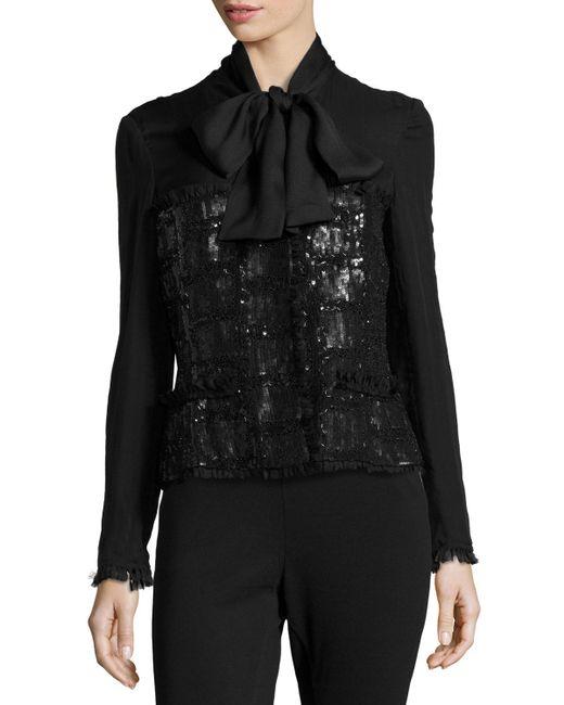 ESCADA   Black Hand-embroidered Tie-neck Jacket   Lyst