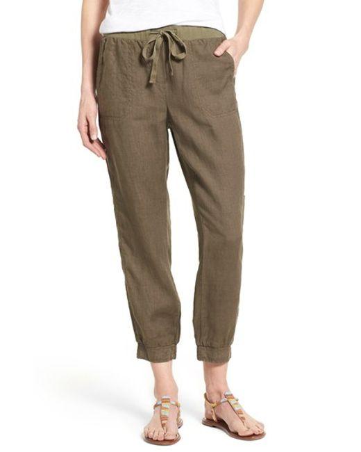 Caslon Linen Crop Cargo Pants In Green Olive Tarmac Lyst