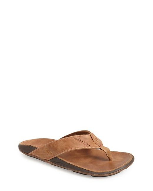 Olukai | Brown 'nui' Leather Flip Flop for Men | Lyst