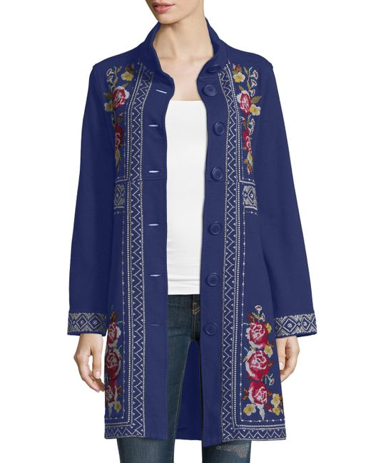 Johnny Was   Blue Joy Embroidered Military Coat   Lyst