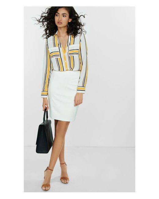 express ivory minus the leather midi skirt in white