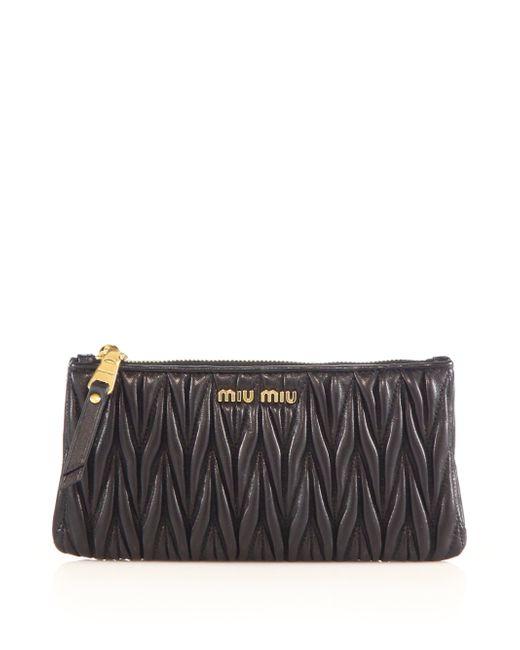 Miu Miu | Black Matelasse Leather Zip Pouch | Lyst