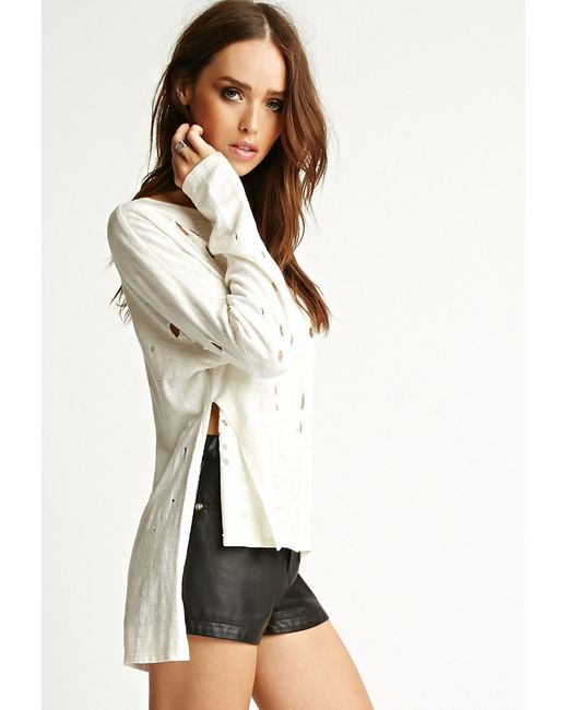 Forever 21 | White Nytt Distressed Side-slit Top | Lyst