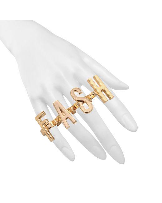 Moschino | Metallic Fash On Off Set Rings | Lyst