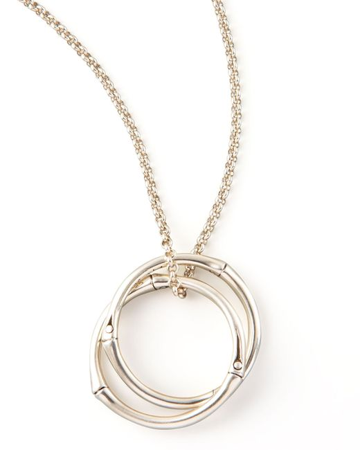 John Hardy Bamboo Link Pendant Necklace In Silver Lyst
