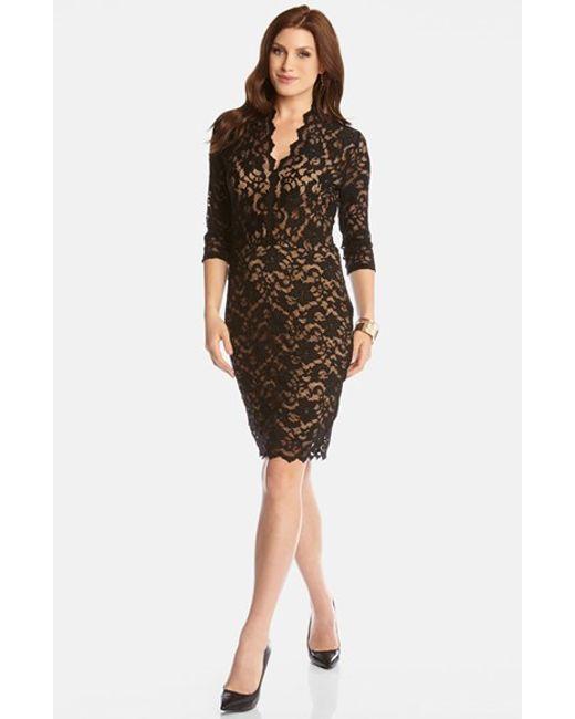 Karen Kane | Black Scalloped Lace V-neck Dress | Lyst