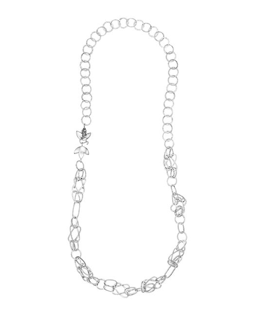 Coomi | Metallic Spring Silver Necklace With Lotus Clasp | Lyst