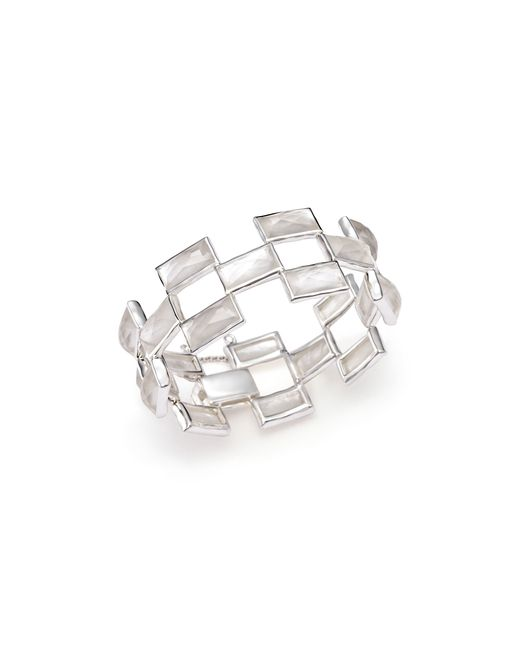 Ippolita | White Sterling Silver Rock Candy Stone Mosaic Bracelet In Clear Quartz And Mother-of-pearl | Lyst
