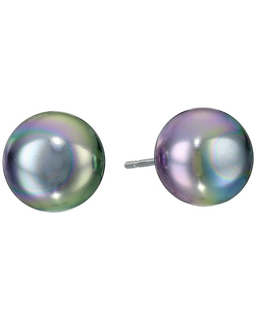 Majorica | Gray 10mm Flat Stud Earrings | Lyst