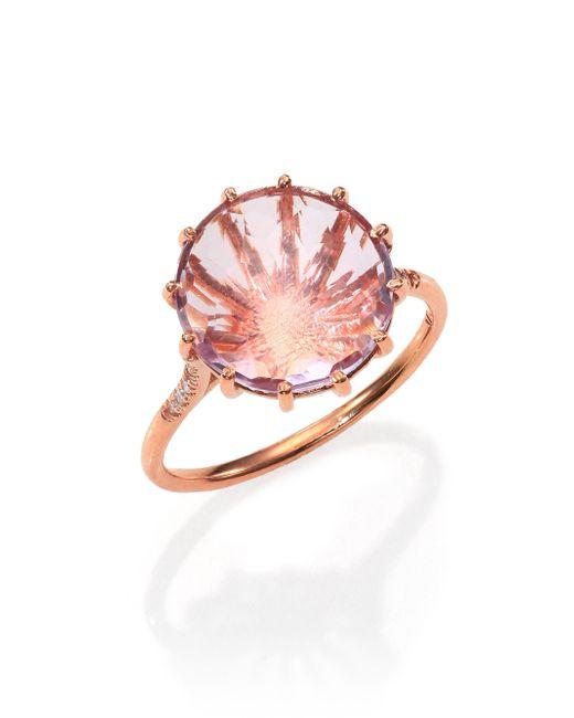 KALAN by Suzanne Kalan | Pink Rose De France, Diamond & 14k Rose Gold Round Ring | Lyst