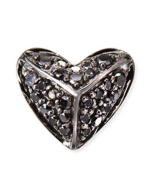 Sydney Evan | 14k Gold Black Diamond Pyramid Heart Single Stud Earring | Lyst