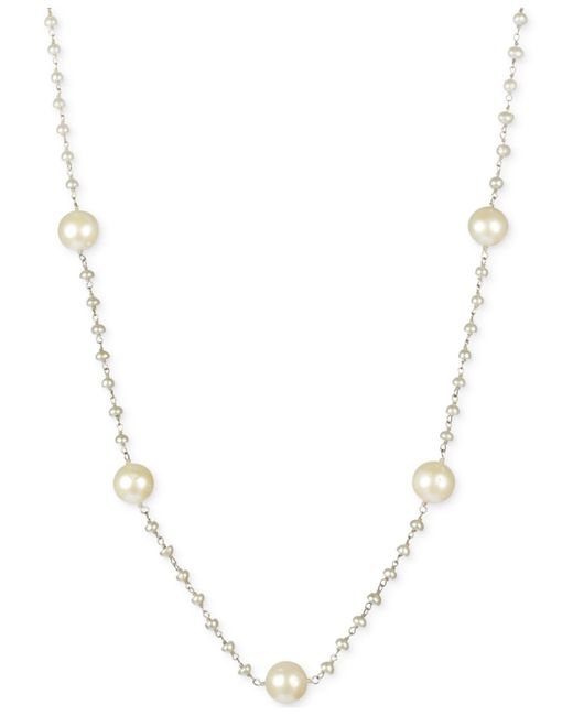 Macy's | Metallic Cultured Freshwater Pearl Station Necklace In Sterling Silver (3-1/2-9mm) | Lyst