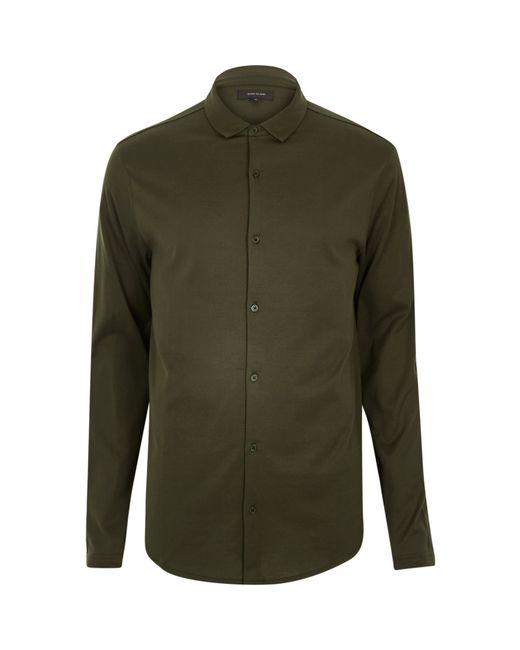 River island khaki casual button down jersey shirt in for Khaki button up shirt