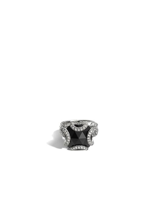 John Hardy | Classic Chain Ring With Black Chalcedony And Diamonds | Lyst