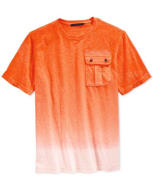 Sean john men 39 s dip dye ombre flight t shirt in orange for for Mens dip dye shirt