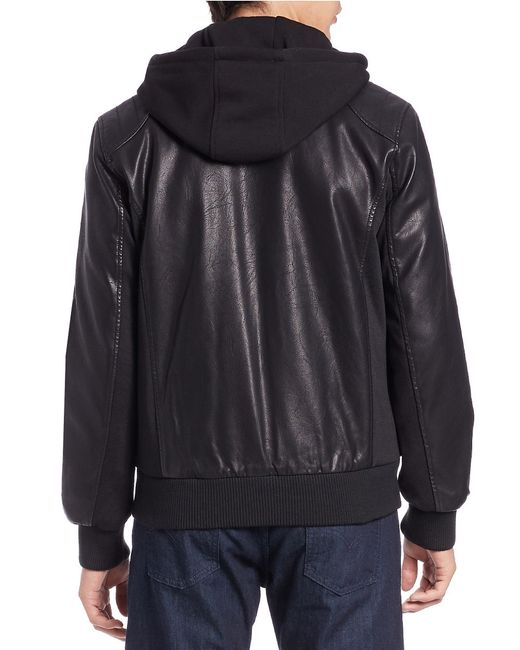 Guess Faux Leather Moto Jacket in Black for Men | Lyst