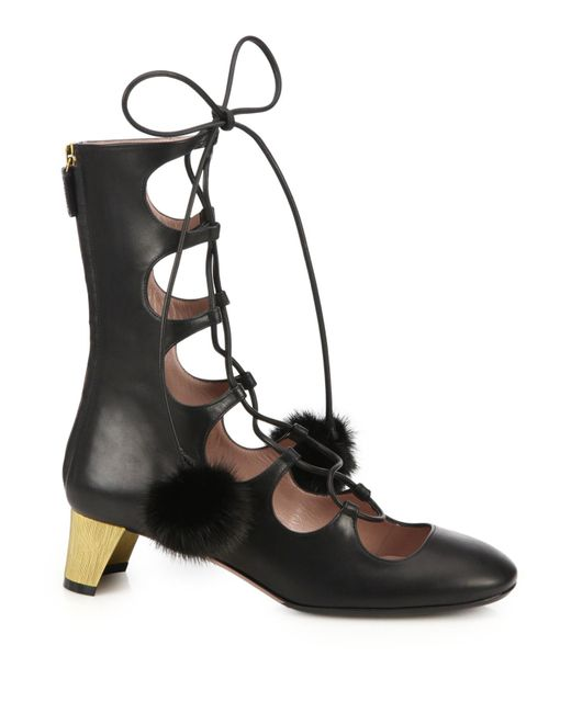Gucci | Black Lace-up Fur Pom-pom Leather Boots | Lyst