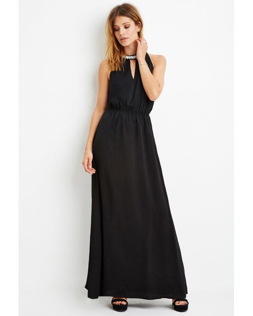 Forever 21 | Black Contemporary Rhinestone-embellished Maxi Dress | Lyst