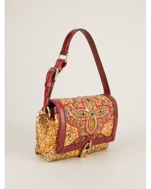 Dolce & Gabbana   Red Miss Sicily Medium Printed Leather Shoulder Bag   Lyst