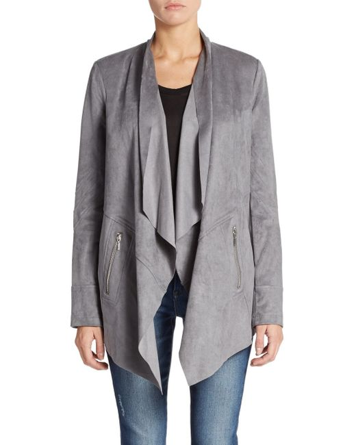 Saks Fifth Avenue Black Label | Gray Faux Suede Jacket | Lyst