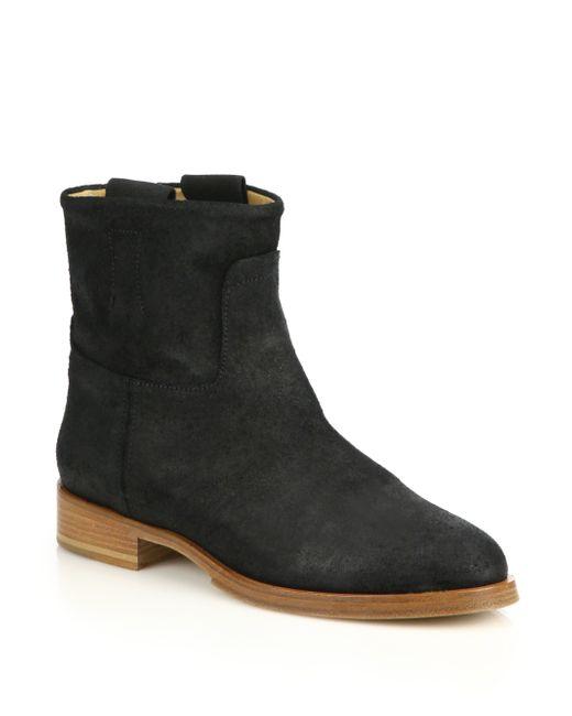rag bone suede flat ankle boots in black lyst