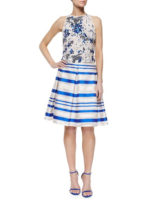phoebe striped pleated midi skirt in blue blue white lyst