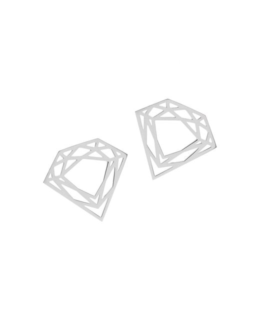 Myia Bonner | Metallic Silver Classic Diamond Stud Earrings | Lyst