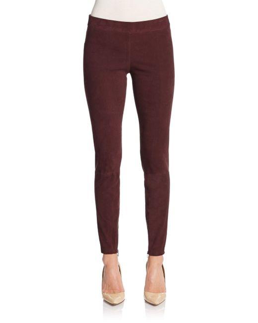 VINCE | Brown Suede Zip-cuff Leggings | Lyst