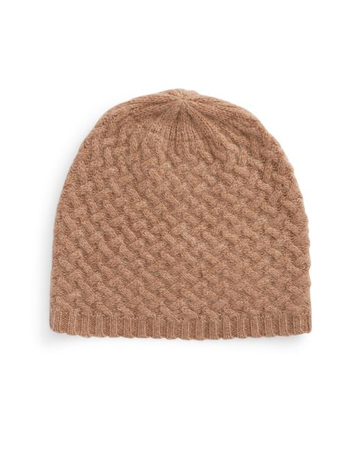 Lord & Taylor | Brown Cashmere Knit Beanie | Lyst