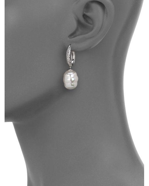 Majorica   Metallic 12mm White Baroque Pearl & Stering Silver Dangle Huggie Hoop Earrings/0.5   Lyst