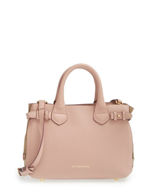 Burberry | Natural 'small Banner' House Check Leather Tote | Lyst