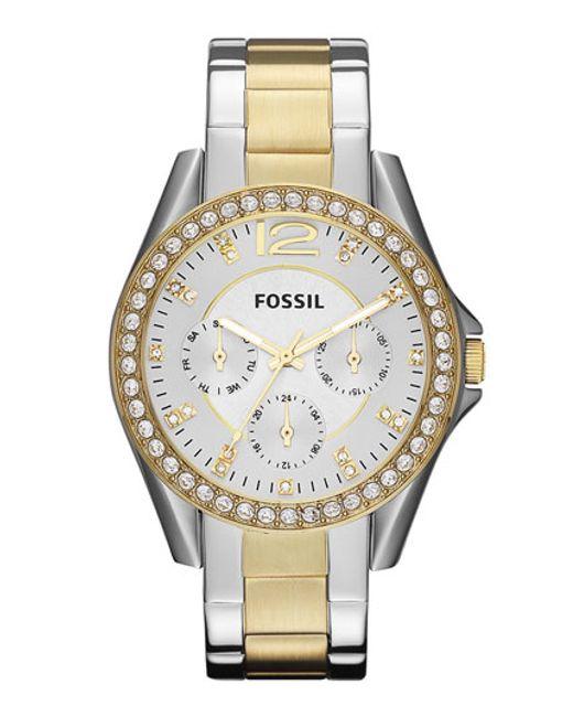 Fossil | Metallic 'riley' Round Crystal Bezel Bracelet Watch | Lyst