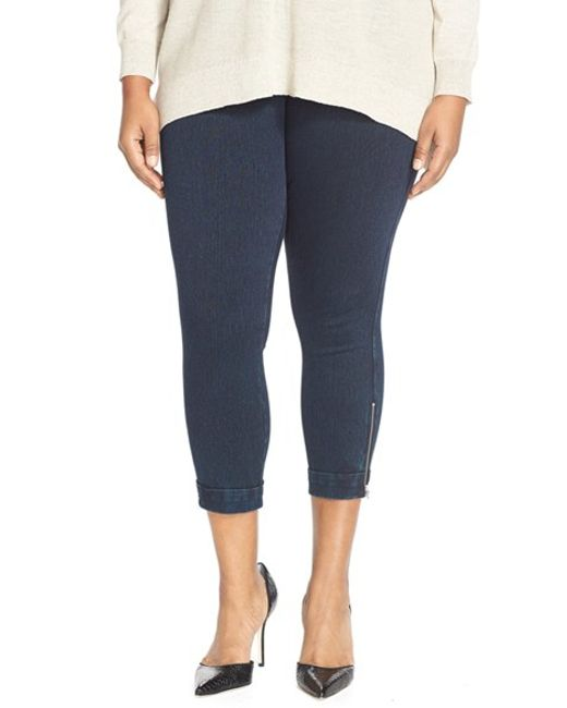 Lyssé | Blue Cuffed Denim Crop Leggings | Lyst