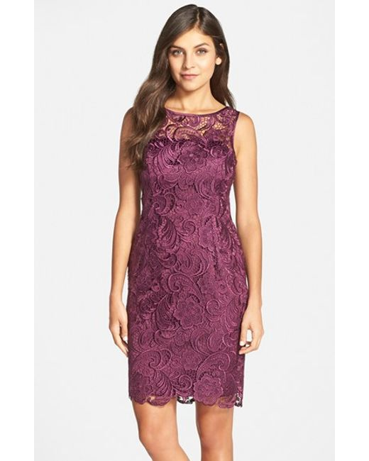 Adrianna Papell | Purple Illusion Bodice Lace Sheath Dress | Lyst