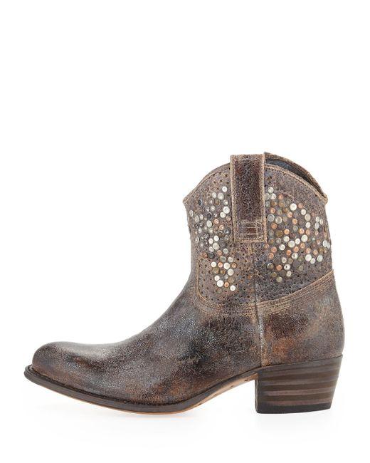 Frye Deborah Studded Boot In Gray Grey Lyst