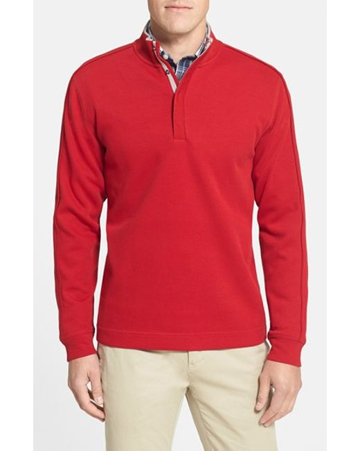 Cutter & Buck | Red 'fulltime' Pima Cotton Pullover for Men | Lyst