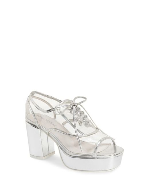 Jeffrey Campbell Nearly Platform Oxford Shoes In Silver ...