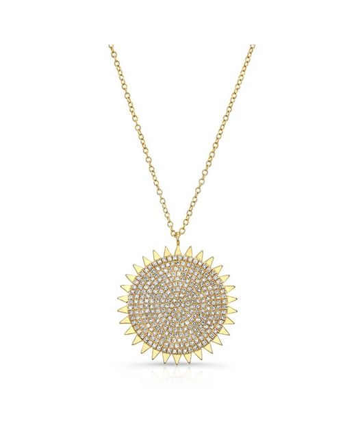 Anne Sisteron | Metallic 14kt Yellow Gold Diamond Sun Necklace | Lyst