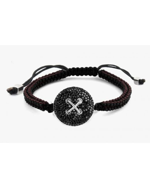 Tateossian | Button Micro Pavé Macramé Bracelet With Black Diamonds for Men | Lyst