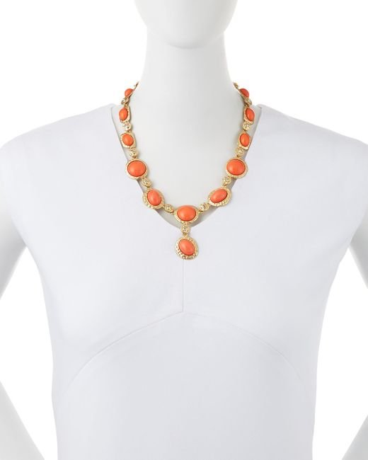 Kenneth Jay Lane | Pink Cabochon & Crystal Y-necklace | Lyst